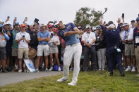 Louis Oosthuizen, of South Africa, hits from the 14th fairway rough during the final round of the U.S. Open Golf Championship, Sunday, June 20, 2021, at Torrey Pines Golf Course in San Diego. (AP Photo/Jae C. Hong)