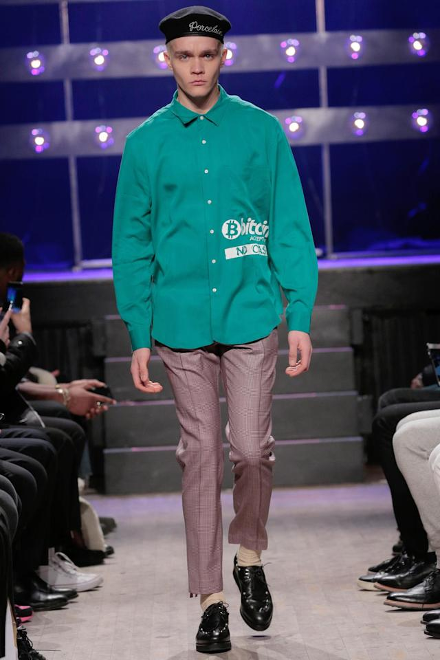 At the Ovadia & Sons runway show during New York Fashion Week: Men's, the design duo presented one look perfect for bitcoin billionaires in their crypto castles. (Photo: Getty Images)