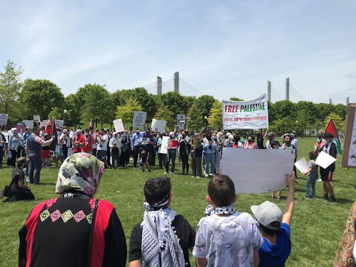 A crowd gathered Saturday near downtown Louisville, Kentucky, to commemorate Nakba and protest the military occupation of Palestine.