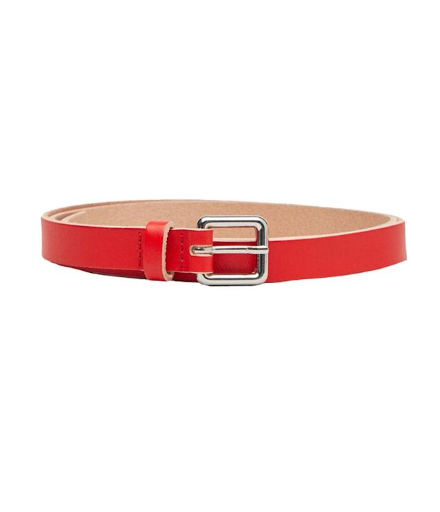"<p>Metallic Leather Belt, $35,<a href=""http://www.cosstores.com/us/Women/Belts/Metallic_leather_belt/10672454-26799172.1#c-15145873"" rel=""nofollow noopener"" target=""_blank"" data-ylk=""slk:cosstores.com"" class=""link rapid-noclick-resp""> cosstores.com</a> </p>"