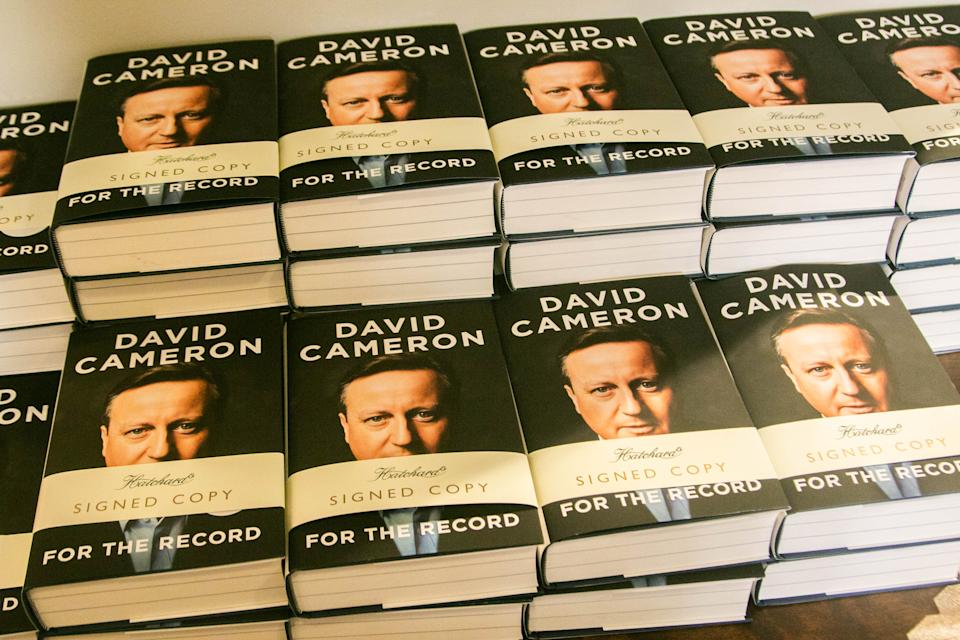 """LONDON, UNITED KINGDOM - 2019/09/19: Signed copies of the autobiography book """" For the Record"""" by the former British Prime Minister David Cameron at Hatchards bookstore in Piccadilly, London. (Photo by Amer Ghazzal/SOPA Images/LightRocket via Getty Images)"""