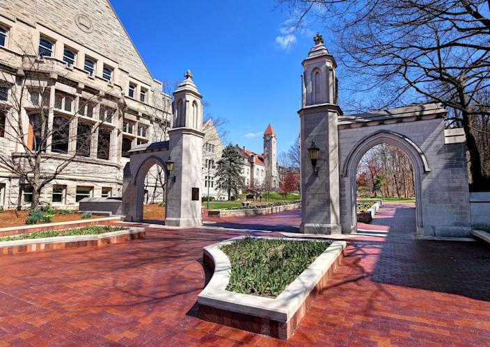 Daytime view of the The Sample Gates, entrance to Indiana University from Kirkwood Ave (Getty Images)
