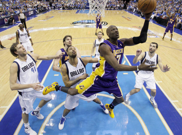 Lamar Odom played seven seasons with the Lakers. (AP)