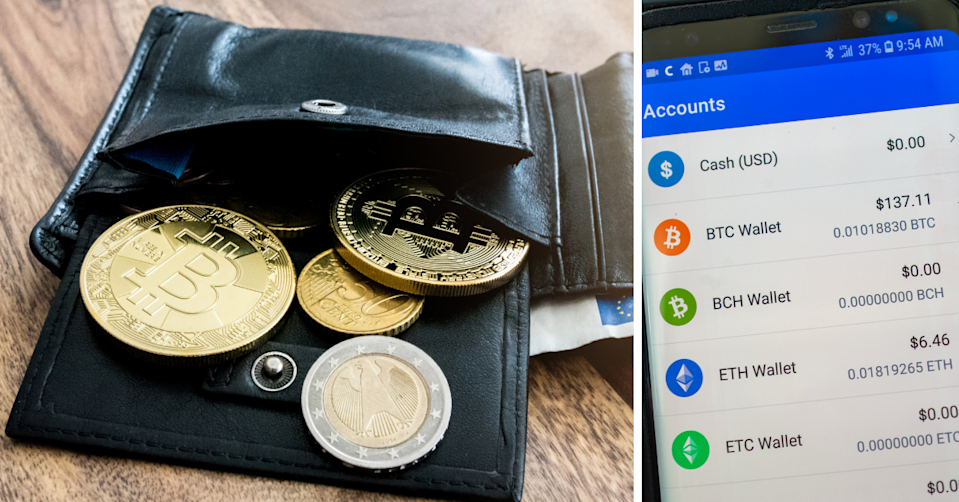A traditional wallet with cryptocurrency coins falling out of it and a phone screen showing a digital wallet.