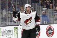 Arizona Coyotes' Phil Kessel celebrates his goal against the Boston Bruins during the second period of an NHL hockey game Saturday, Feb. 8, 2020, in Boston. (AP Photo/Winslow Townson)