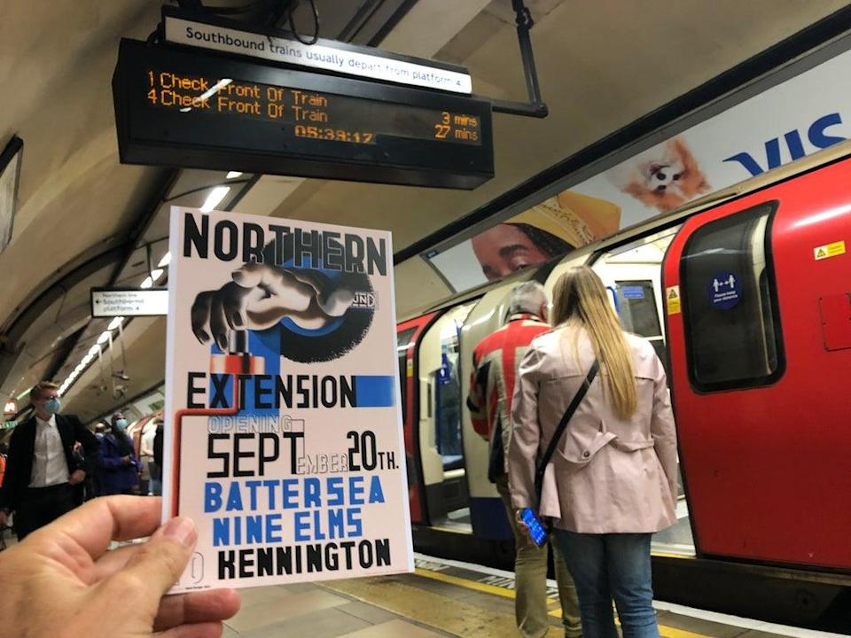 Opening day: the first Tube to depart from Kennington to Battersea Power Station (Simon Calder)