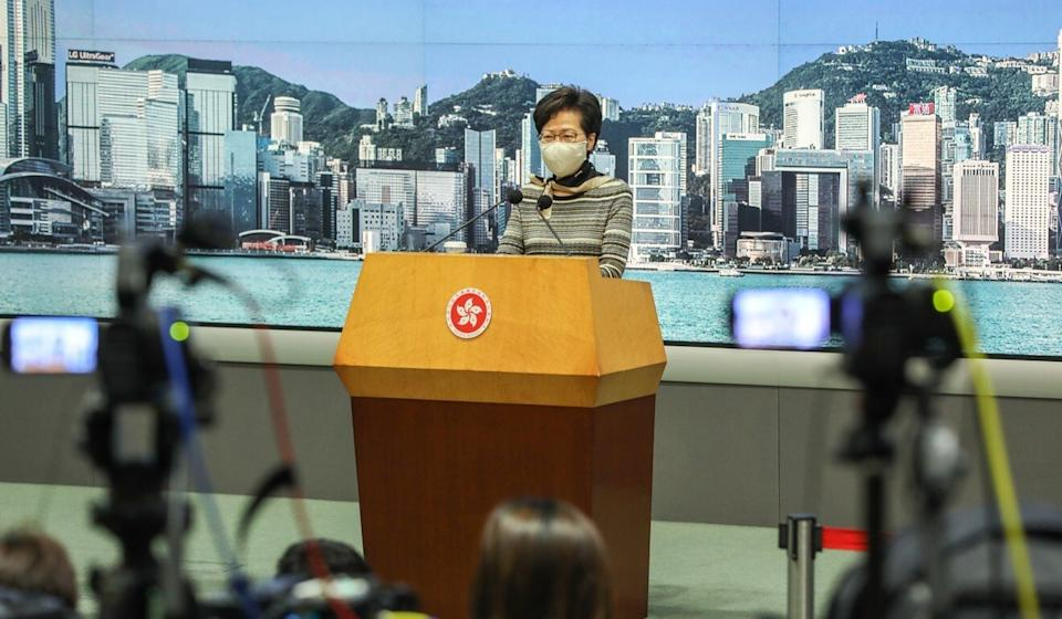 Chief Executive Carrie Lam at a media briefing on Tuesday. Photo: May Tse