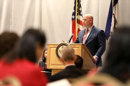 Acting Attorney General Matthew Whitaker speaks at the Department of Justice Rural and Tribal Elder Justice Summit in Des Moines, Iowa, U.S., November 14, 2018.  REUTERS/Scott Morgan