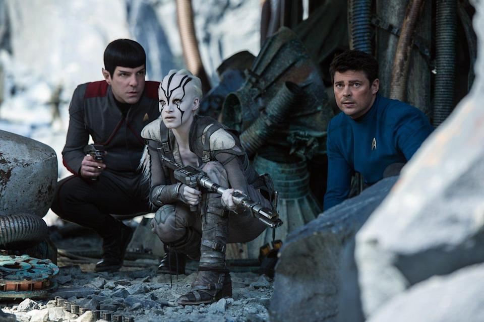 Quinto with Sofia Boutella and Karl Urban in 'Star Trek Beyond' (credit: Paramount)