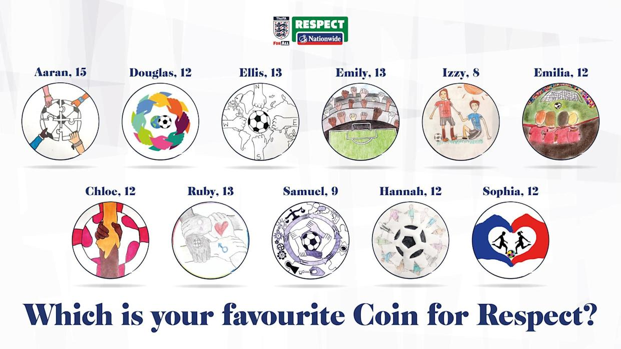 The shortlisted entries for the Football Association and Nationwide Building Society's Coin for Respect competition