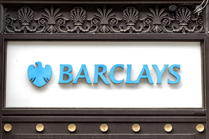 Barclays Bank logo at one of their branches. Photo: Dave Rushen/SOPA Images/LightRocket via Getty Images