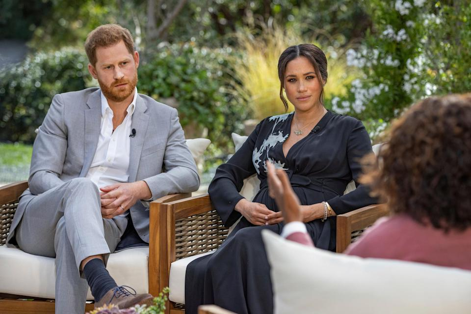 <p>Prince Harry, left, and Meghan, Duchess of Sussex, in conversation with Oprah Winfrey</p> (AP)