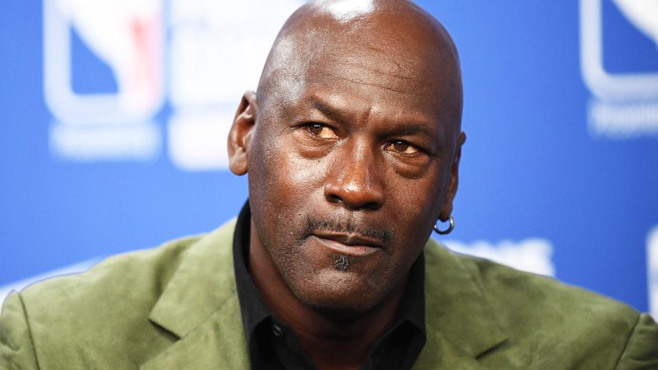 Michael Jordan is pictured during a press conference.