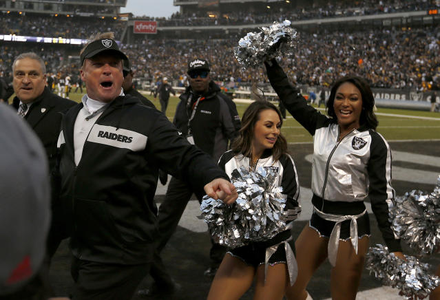 Raiders head coach Jon Gruden was in a good mood after beating the Steelers on Sunday in Oakland. (AP)