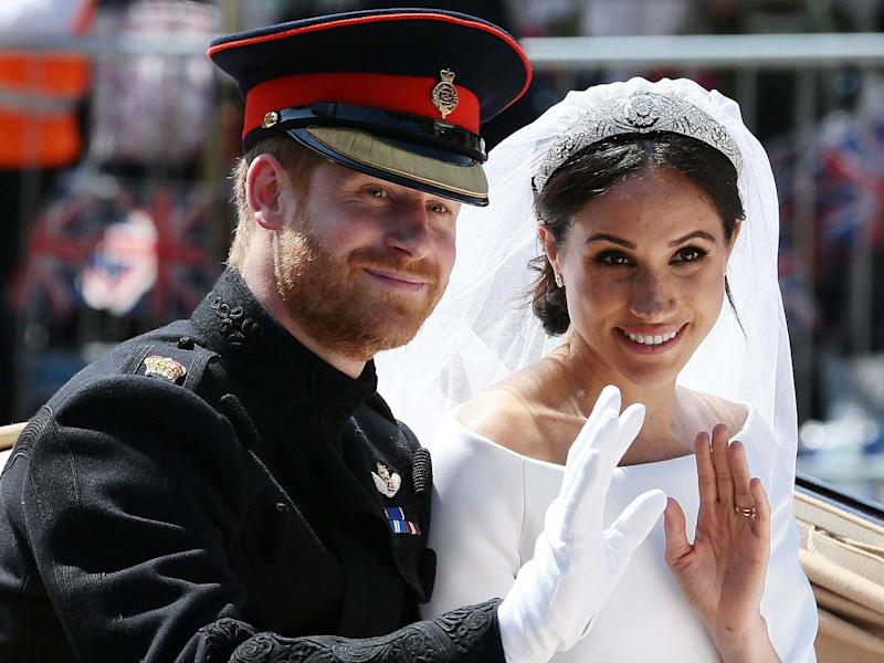 The Duke and Duchess of Sussex on their wedding day, 19 May, 2018: POOL/AFP via Getty Images