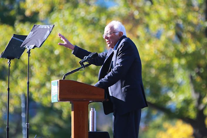 Vermont senator and Democratic presidential candidate Bernie Sanders speaks at the Bernie's Back Rally in Long Island City, New York on Saturday, Oct. 19, 2019. (Photo: Gordon Donovan/Yahoo News)