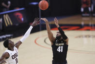 Colorado's Jeriah Horne (41) shoots over Oregon State's Warith Alatishe (10) during the first half of an NCAA college basketball game in Corvallis, Ore., Saturday, Feb. 20, 2021. (AP Photo/Amanda Loman)