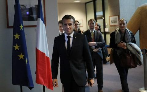 <span>French president Emmanuel Macron has been blamed for the delay</span> <span>Credit: Simon Dawson/ Bloomberg </span>