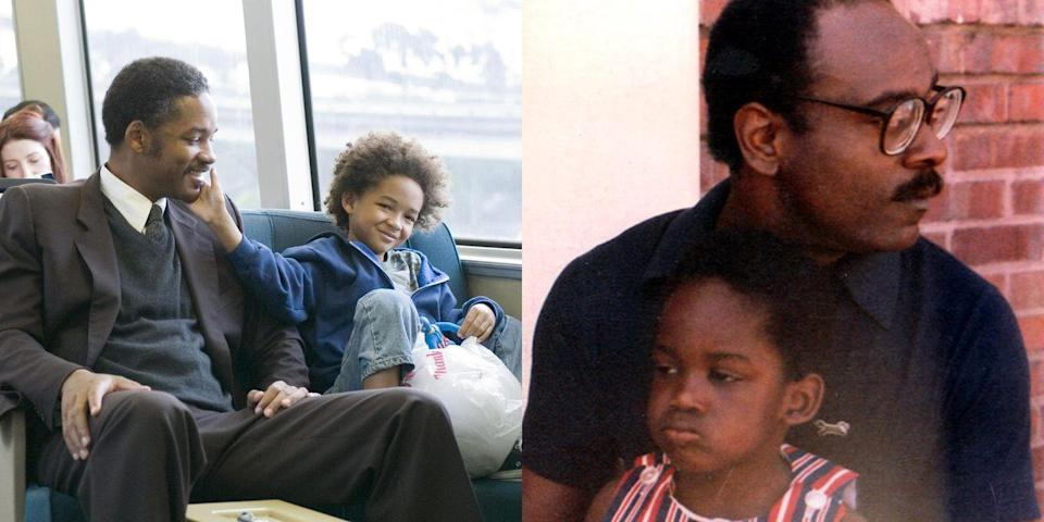 <p>We're not crying, you're crying. Will Smith played real-life single father Chris Gardner, whom Smith mirrored in 2006's <em>The Pursuit of Happyness</em>. Smith's real son Jaden Smith played Gardner's son in the movie. </p>