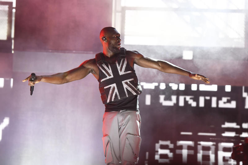 Photo by: zz/KGC-138/STAR MAX/IPx 2019 6/28/19 Stormzy performing in concert on The Pyramid Stage at The Glastonbury Music Festival on Worthy Farm, Pilton, Glastonbury, Somerset, England, UK.
