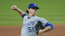 Kansas City Royals starting pitcher Brady Singer delivers in the seventh inning of the baseball team's game against the Cleveland Indians, Thursday, Sept. 10, 2020, in Cleveland. (AP Photo/Tony Dejak)