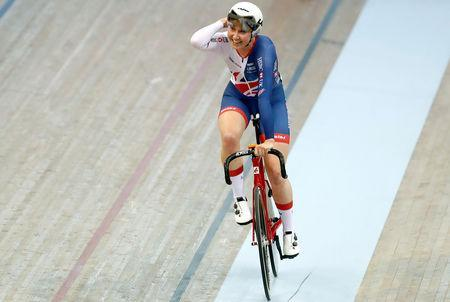 2018 European Championships - Track Cycling, Women's Omnium, Elimination Race - Emirates Arena, Glasgow, Britain - August 6, 2018 - Katie Archibald of Great Britain reacts after winning the race. REUTERS/Russell Cheyne