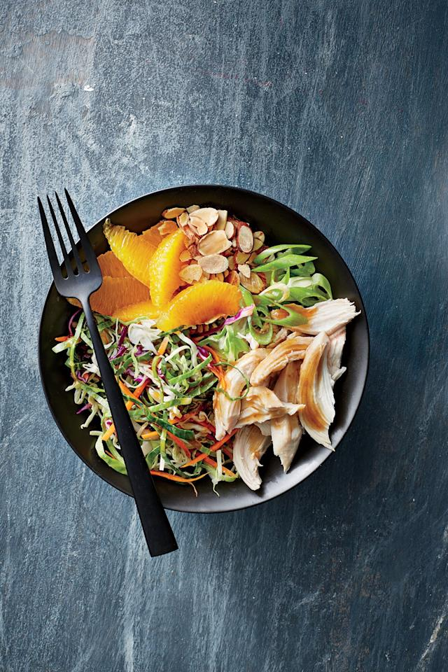 "<p>Make these low-calorie, no-cook bowls ahead for an easy lunch or dinner when time is tight. Change up the fruit, nut, or protein for whatever you have on hand.</p> <p><a href=""https://www.myrecipes.com/recipe/orange-almond-chicken-and-cabbage-bowls"">Orange-Almond Chicken-and-Cabbage Bowls Recipe</a></p>"