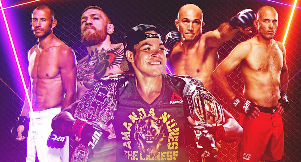 (L-R) Donald Cerrone, Conor McGregor, Amanda Nunes, BJ Penn and Royce Gracie are five of the BMFs to ever step foot in the Octagon.