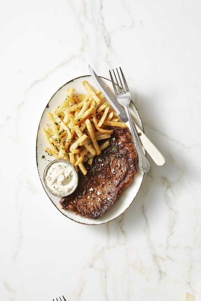 """<p>Prep a fancy bistro dinner in only 20 minutes, for the best weeknight meal.</p><p><em><a href=""""https://www.goodhousekeeping.com/food-recipes/easy/a42423/faster-steak-frites-recipe/"""" target=""""_blank"""">Get the recipe for Faster Steak Frites »</a></em> </p>"""