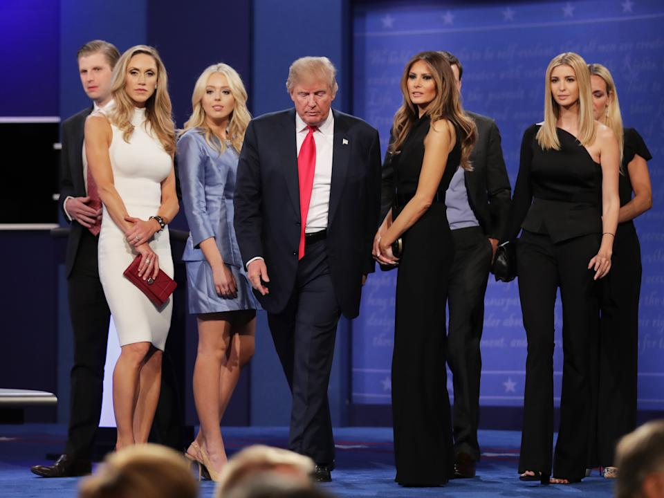 Lara Trump (left) with son Eric, daughters Tiffany, Ivanka and former first lady Melania after a presidential debate last year. Source: Getty