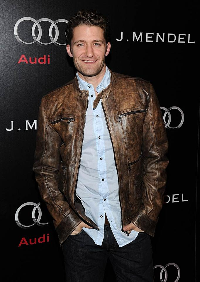 "Sporting a sexy smirk and a hot leather jacket, ""Glee's"" Matthew Morrison turned up for the bash after attending the L.A. Lakers game earlier in the night. Michael Buckner/<a href=""http://www.wireimage.com"" target=""new"">WireImage.com</a> - January 9, 2011"