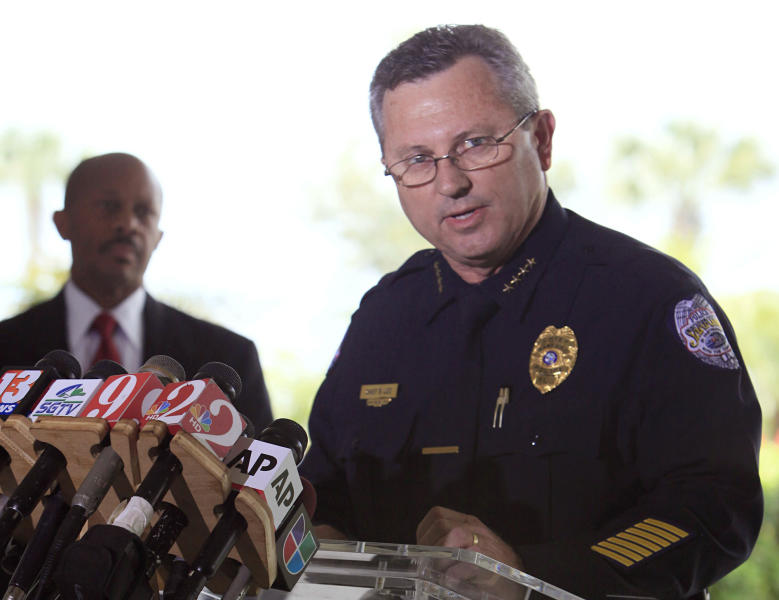 FILE - In this March 22, 2012 file photo, Sanford Police Chief Bill Lee speaks to the the media during a news conference as city manager Norton Bonaparte Jr. listens at left, in Sanford Fla. The Sanford City Commission on Monday, April 23, 2012 rejected by a 3-2 vote the resignation of Lee, who was roundly criticized for not initially charging Zimmerman and had stepped down temporarily in March he said to let emotions cool. (AP Photo/Julie Fletcher, File)
