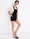 """<p><strong>Madewell</strong></p><p>madewell.com</p><p><strong>$49.99</strong></p><p><a href=""""https://go.redirectingat.com?id=74968X1596630&url=https%3A%2F%2Fwww.madewell.com%2Fadirondack-short-overalls-in-washed-black-G5149.html&sref=https%3A%2F%2Fwww.cosmopolitan.com%2Fstyle-beauty%2Ffashion%2Fg30460311%2Fspring-work-outfit-ideas%2F"""" rel=""""nofollow noopener"""" target=""""_blank"""" data-ylk=""""slk:Shop Now"""" class=""""link rapid-noclick-resp"""">Shop Now</a></p><p>Pull on these best-selling overalls and layer a blouse underneath for a low-key yet cute at-home work outfit. Black slides and gold earrings help complete the look. </p>"""
