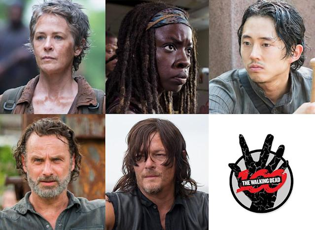 Melissa McBride as Carol, Danai Gurira as Michonne, Steven Yeun as Glenn, Andrew Lincoln as Rick and Norman Reedus as Daryl in 'The Walking Dead' (Photo: AMC)