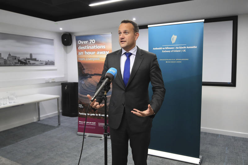 "Ireland's Taoiseach Leo Varadkar speaks to the media following private talks with Britain's Prime Minister Boris Johnson, at Liverpool Airport, England, Thursday, Oct. 10, 2019. The leaders of Britain and Ireland said they spotted a ""pathway"" to an elusive Brexit deal as hopes for a breakthrough dimmed before the U.K.'s Oct. 31 deadline to leave the European Union. The two said in a joint statement they ""agreed that they could see a pathway to a possible deal."" (Peter Byrne/PA via AP)"