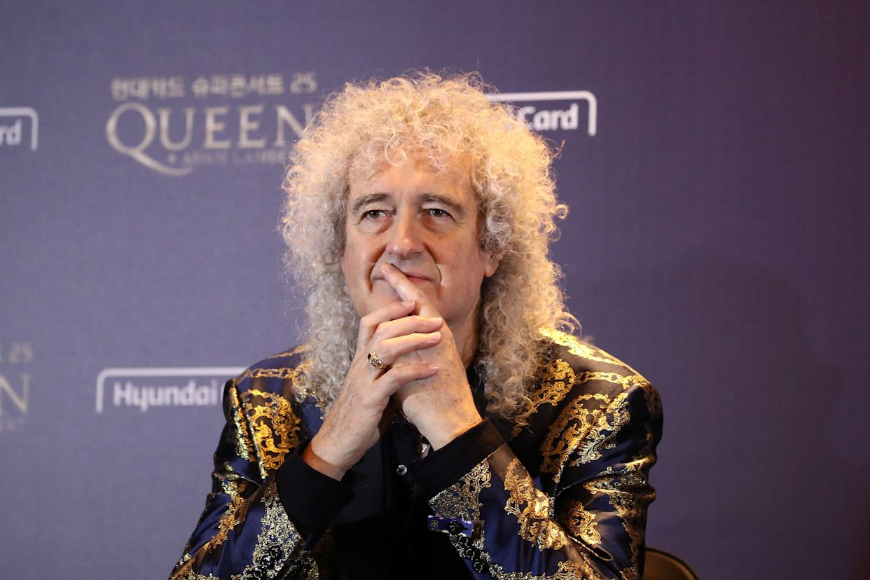 (L to R) Queen band member Brian May attends a press conference ahead of the Rhapsody Tour at a hotel in Seoul on January 16, 2020. (Photo by Chung Sung-Jun / POOL / AFP) (Photo by CHUNG SUNG-JUN/POOL/AFP via Getty Images)