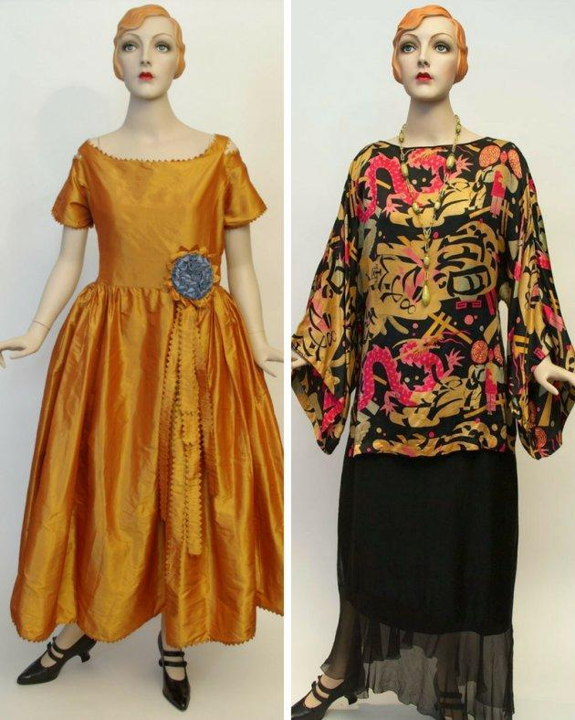 Left: a Jeanne Lanvin boatneck dress design from Winter 1921. Right: a Chinese print silk blouse with a boatneck, c. 1922-23, Franklin Simon Company.