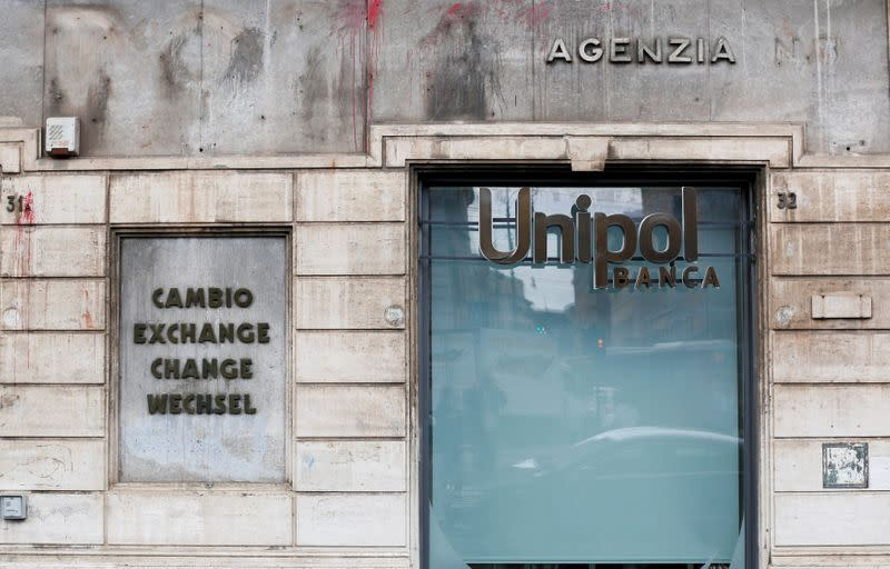 FILE PHOTO: The logo of Unipol bank is seen in Rome