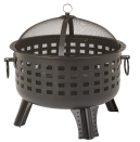"""<p><strong>Amazon Basics</strong></p><p>Amazon</p><p><strong>$109.68</strong></p><p><a href=""""https://www.amazon.com/27-8-Inch-Steel-Lattice-Fire-Pit/dp/B00LILH3QE/?tag=syn-yahoo-20&ascsubtag=%5Bartid%7C10055.g.36014739%5Bsrc%7Cyahoo-us"""" rel=""""nofollow noopener"""" target=""""_blank"""" data-ylk=""""slk:Shop Now"""" class=""""link rapid-noclick-resp"""">Shop Now</a></p><p>If you're not keen on spending over $150 on a backyard fire pit, you might consider a basic steel lattice model like this one from Amazon Basics. Like our top choice from Tiki, this wood-burning fire pit is <strong>deep enough to accommodate most logs, and it has a full mesh screen and mesh lid to reduce ember and ash fallout</strong> and promote airflow. At only 17 pounds, it's also a fairly portable and lightweight option — and as some users complain of rusting, keeping it out of the elements is key.</p>"""