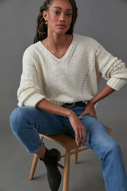 Pilcro Marla V-Neck Sweater. Image via Anthropologie.