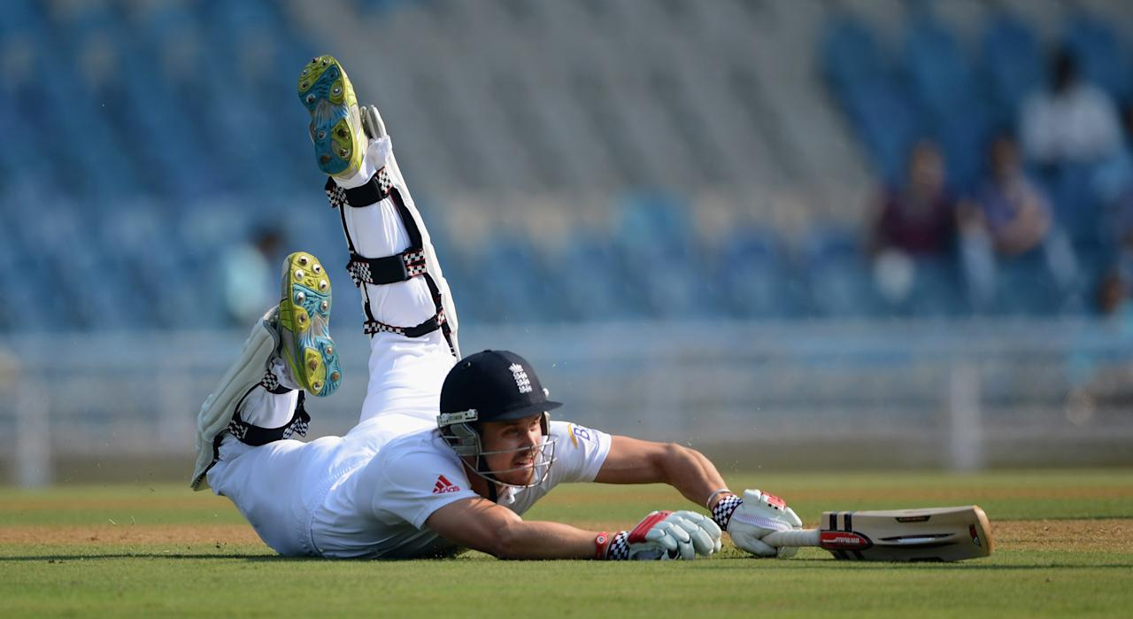 MUMBAI, INDIA - NOVEMBER 03:  Nick Compton of England makes his ground to avoid being run out during day one of the tour match between Mumbai A and England at The Dr D.Y. Palit Sports Stadium on November 3, 2012 in Mumbai, India.  (Photo by Gareth Copley/Getty Images)