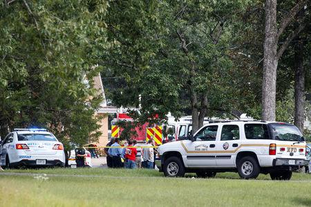 The scene where people were injured when a gunman opened fire at the Burnette Chapel Church of Christ, in Nashville, Tennessee, U.S. September 24, 2017.  REUTERS/Jamie Gilliam