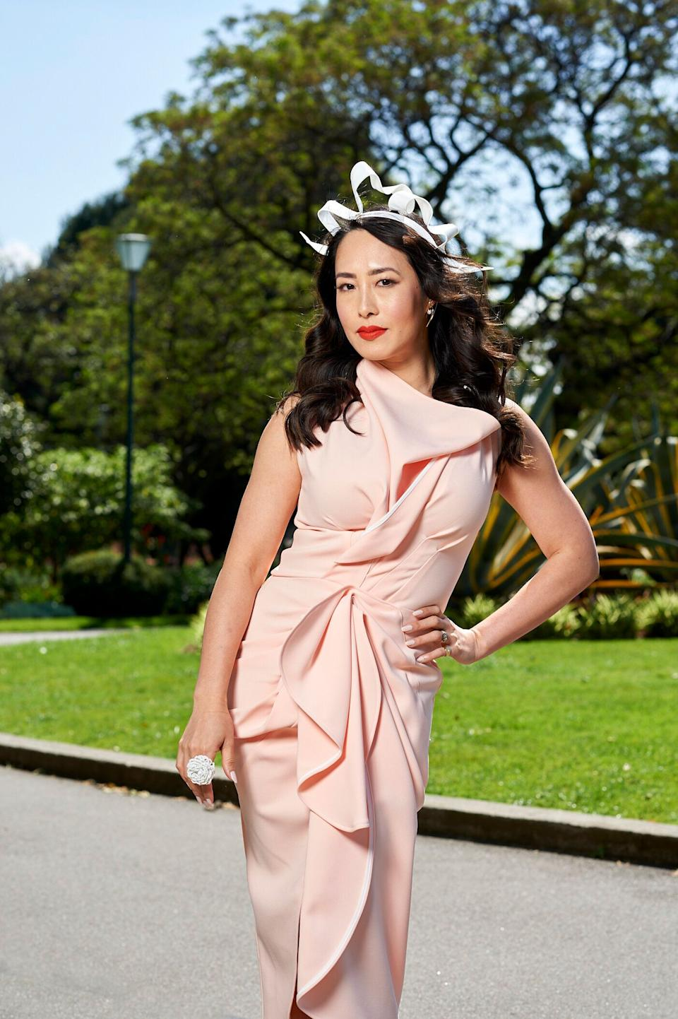 """'MasterChef Australia' judge Melissa Leong poses for <a href=""""https://www.lexus.com.au/senses-electrified"""" target=""""_blank"""" rel=""""noopener noreferrer"""">Lexus</a> after being announced as the luxury car brand's new ambassador ahead of the Melbourne Cup carnival (Photo: Supplied )"""