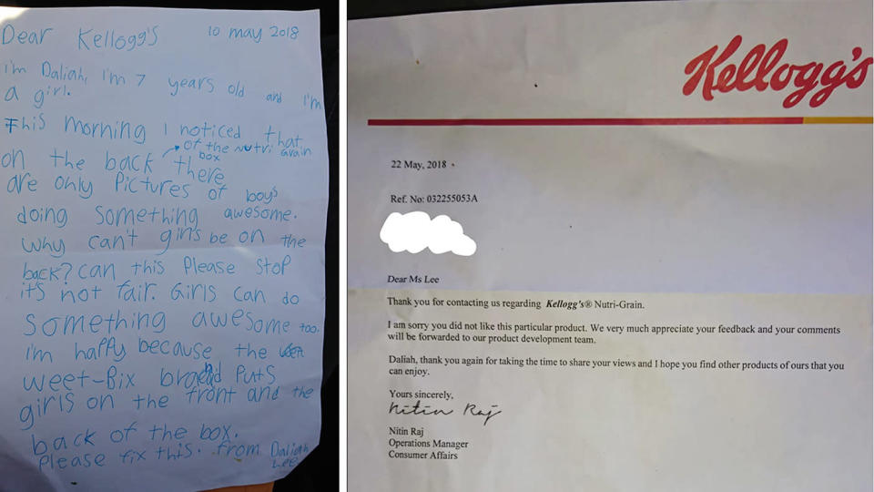 Canberra girl Daliah Lee, 8, fights Kellogg's over its sexist Nutri-Grain box that only pictures boys.