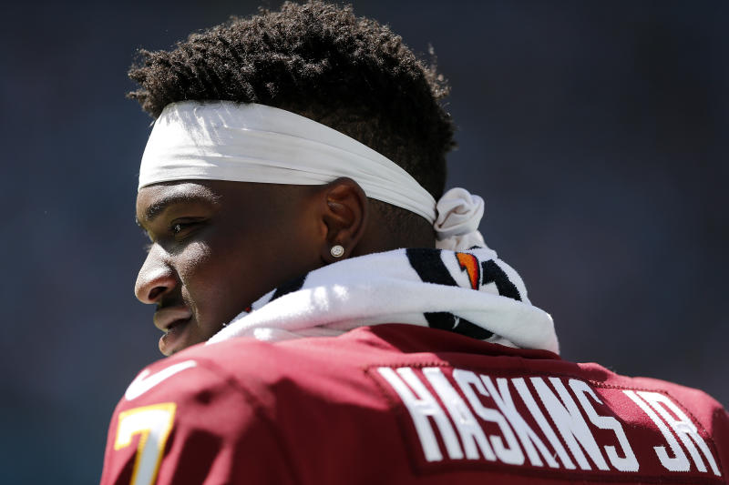 Dwayne Haskins hasn't started yet for Washington this season. (Getty Images)