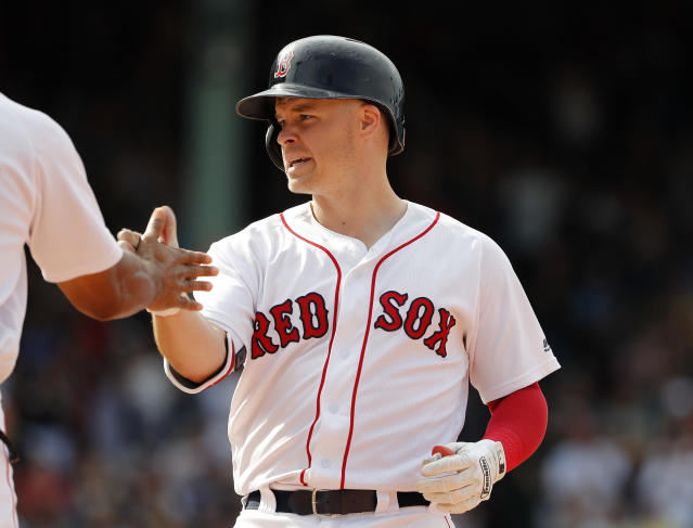 Brock Holt during the 10th inning of their 6-2 over the Toronto Blue Jays in a baseball game Saturday, July 14, 2018, in Boston. (AP Photo/Winslow Townson)