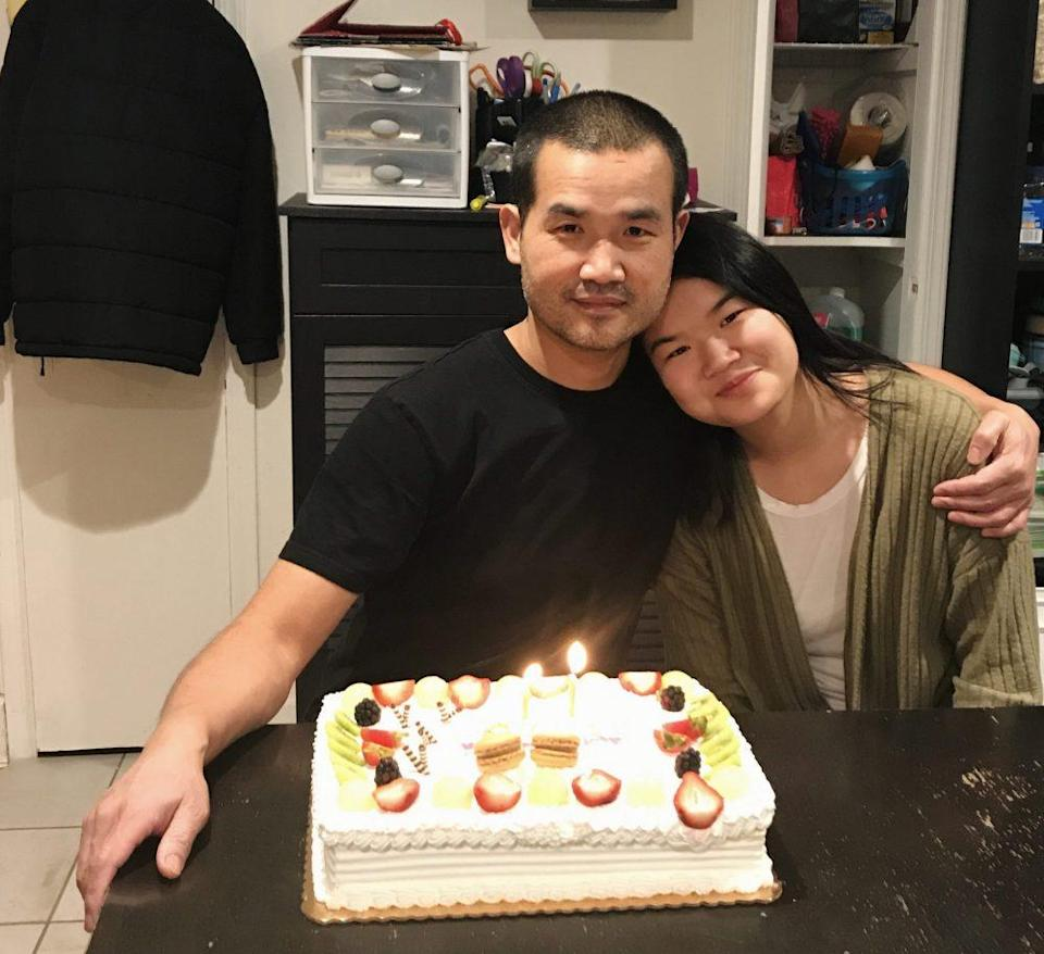 The author, Cindy Chen, with her father on her 17th birthday. (Courtesy of Cindy Chen)<br>
