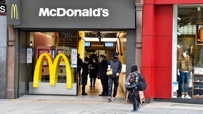 Customers in a McDonald's restaurant in the UK