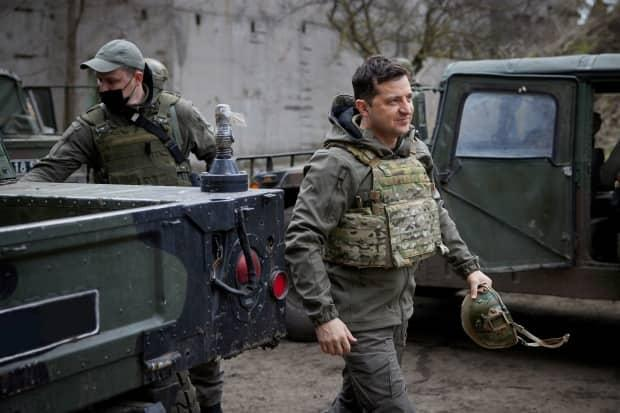 Ukraine's president, Volodymyr Zelensky, visits troops near the front line with Russian-backed separatists in the Donbas region on April 9.