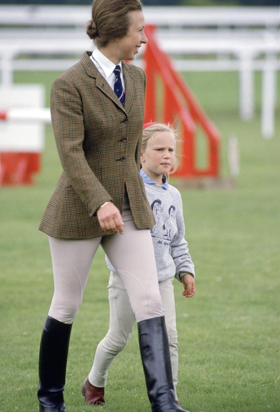 <p>Princess Anne looked the part of the accomplished equestrian she is at the 1987 Royal Ascot wearing a classic uniform for the sport—tweed blazer included. </p>